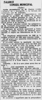 Iriquin Boucanus Lasserre et le loyer de presbytère