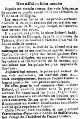 Vol de Morues chez M.Delord chemin Bougès