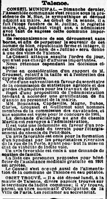 Décès du Maire Jacques Juillac élection d'Adolphe Huc