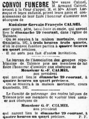 Obsèques Gervais-François Calmel