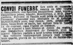 Obsèques D'Antoine Danguilhen