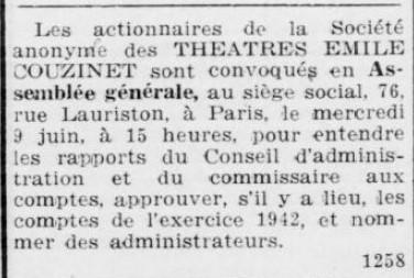 A.G à la S.A des Théatres Emile Couzinet