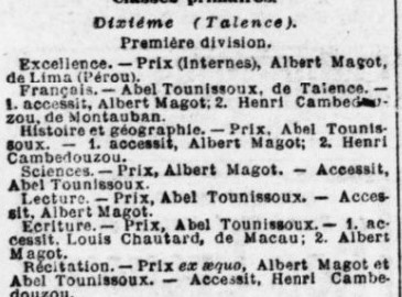 Abel Tounnissoux Excellent élève tué durant la Guerre.