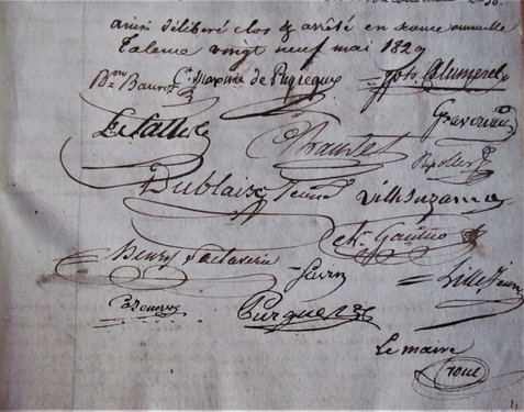 Signatures du conseil dont l'abbé