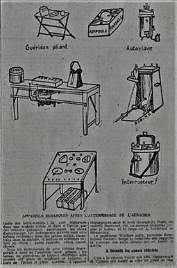 Le matériel emporté (photo d'époque)