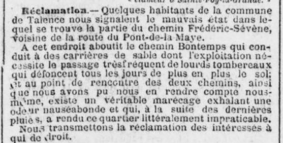 Réclamation Frédéric Sévène