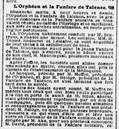 L'Orphéon et la Fanfare invités par M. Boucanus