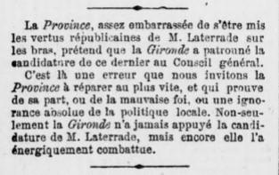 Démanti du journal la Gironde