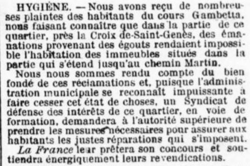 Hygiène et égouts St Genès