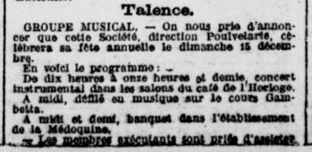 Concert du  Groupe Musical