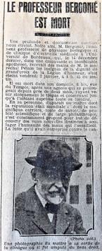 Mort du Professeur Bergonié