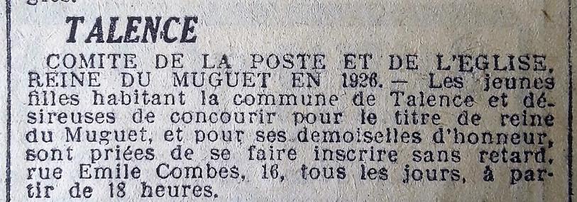 37 Appel à candidatures Reine du Muguet 1926