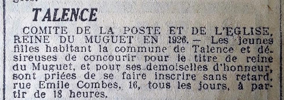 Appel à candidatures Reine du Muguet 1926