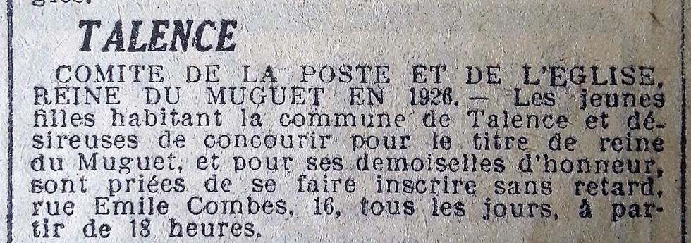 037 Appel à candidatures Reine du Muguet 1926
