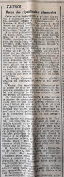 Banquet à l'URD et obligations  sportives.