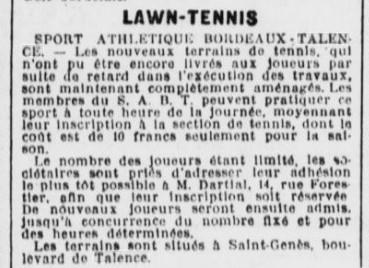SABT  Tennis  Terrains à  St Genès
