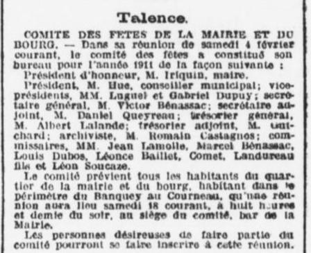 Comité des fêtes présidé par M. Huc