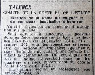026 Talence Reine Muguet Critères de sélection. Concours réservé aux habitantes du quartier Poste Eglise.
