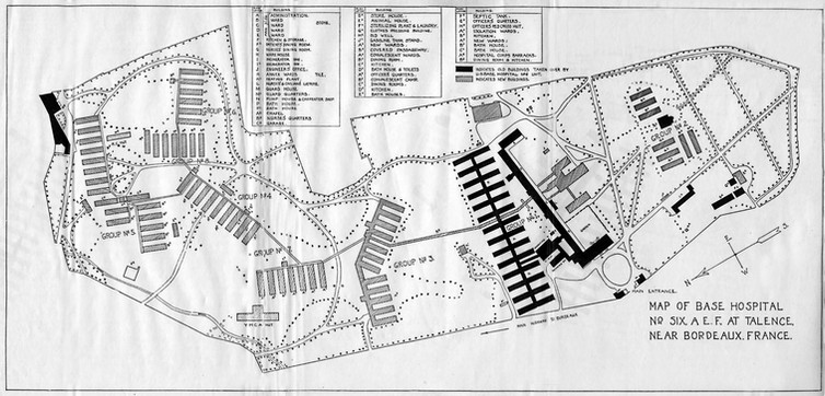 1917 Plan de l'Hôpital Américain
