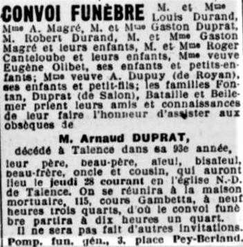 Obsèques Arnaud Duprat
