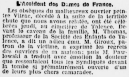 Accident aux Dames de France