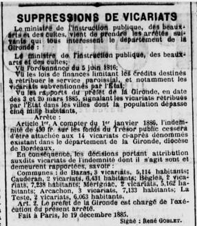 Suppression du Vicariat article signé René Goblet