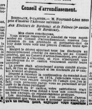 Elections cantonales Remerciements Léon Fourcand