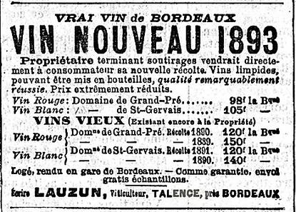 Publicité de vin