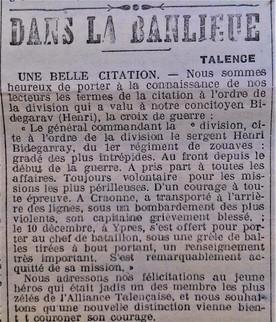 Citation Henri Bidegaray Mort pour la France