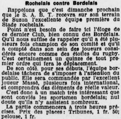 SABT VS La Rochelle