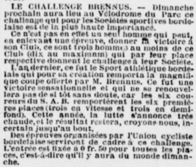 Chalenge Brennus vélo