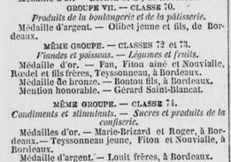 Exposition universelle de 1878 Olibet et Marie Brizard primés