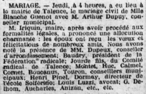 Mariage Arthur Dupuy