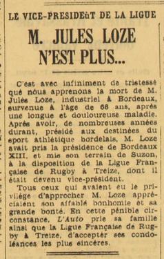 Décès de Jules Loze Vice président fédération de jeu à XIII.