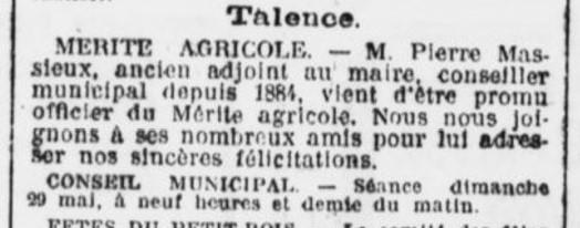 Mérite Agricole M. Massieux