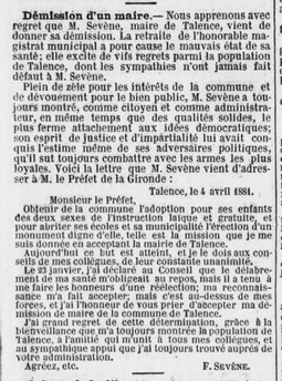 Démission de Frédéric Sévène.