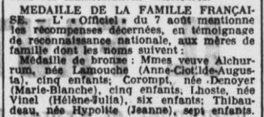Médaile famille Française