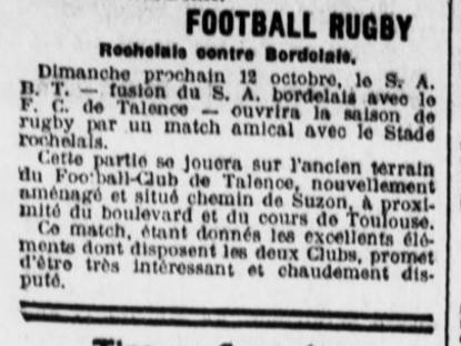 Le SAB gagne un stade proche de Bordeaux. Il jouait à gradignan.