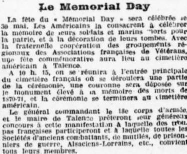 Mémorial day Cimetière américains