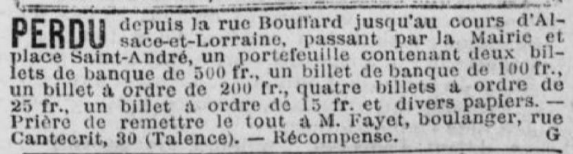 1415 Frs dans le porte monnaie du boulanger.
