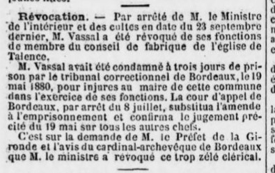 Condamnation et révocation de M. Vassal