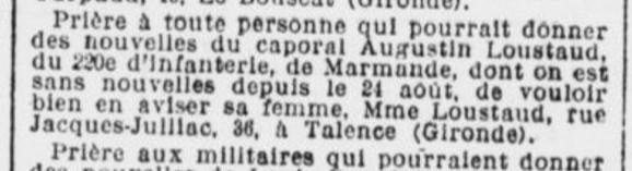 LOUSTAUD Augustin une demande à déjà eté faite en novembre 1914