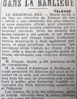 Mémorial day voir cimetière des alliés