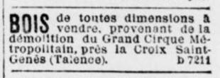 Un cirque démoli quartier Saint Genès