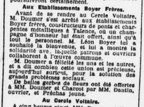 Commandant Charcot et le président Doumer visitent l'usine