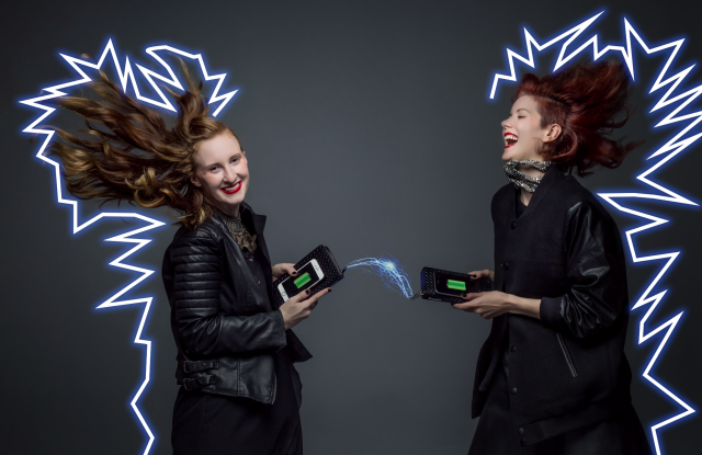 360 Fashion Network founder and CEO Anina Trepte (R) with model, in a campaign image for the 360 Fashion Network recharging wallet. Photo by WWD.