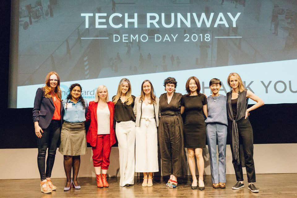 New York Fashion Tech Lab's cohort of eight entrepreneurs on stage at Demo Day 2018.YUMI MATSUO/SPRINGBOARD ENTERPRISES FLICKR