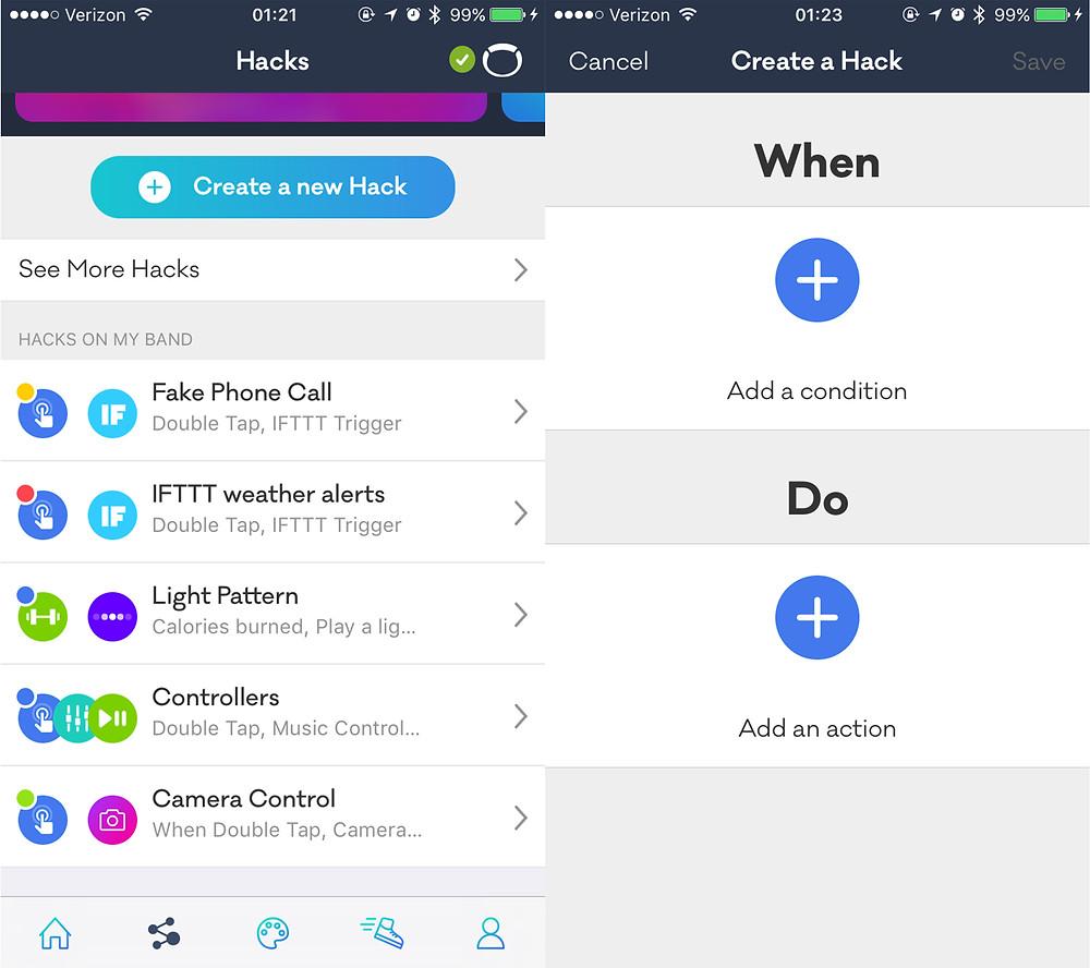 Adding hacks in the Nex app