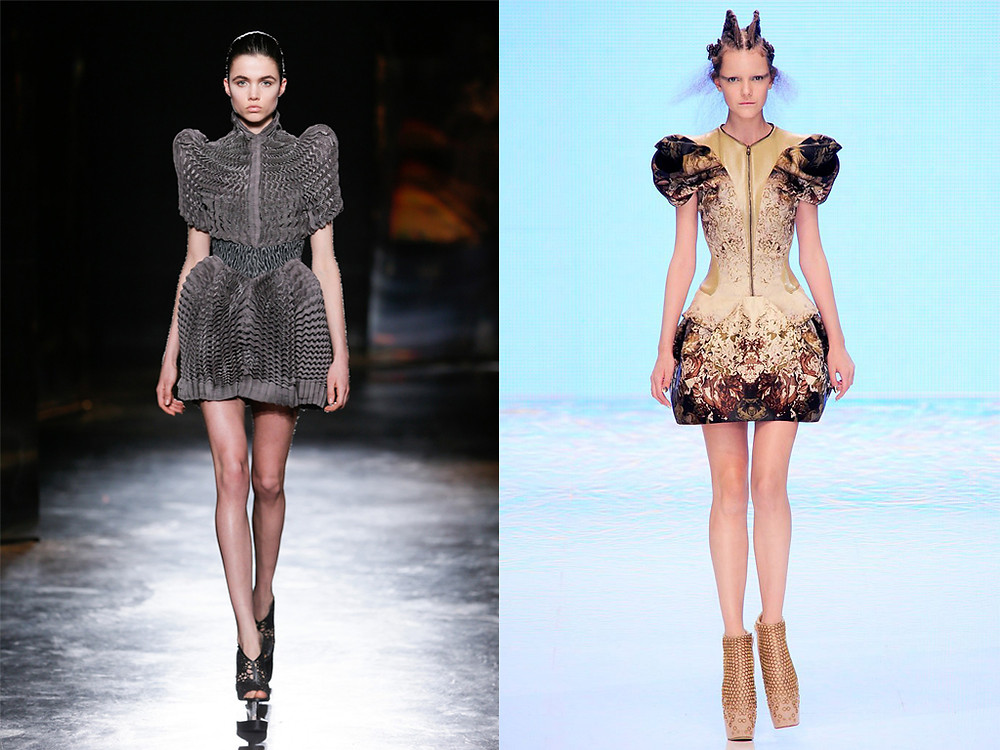 Iris Van Herpen Fall 2016 and Alexander McQueen Spring 2010. Photo: Team Peter Stigter / Courtesy of Apiece Apart (Iris Van Herpen), Photo: Marcio Madeira (Alexander McQueen)