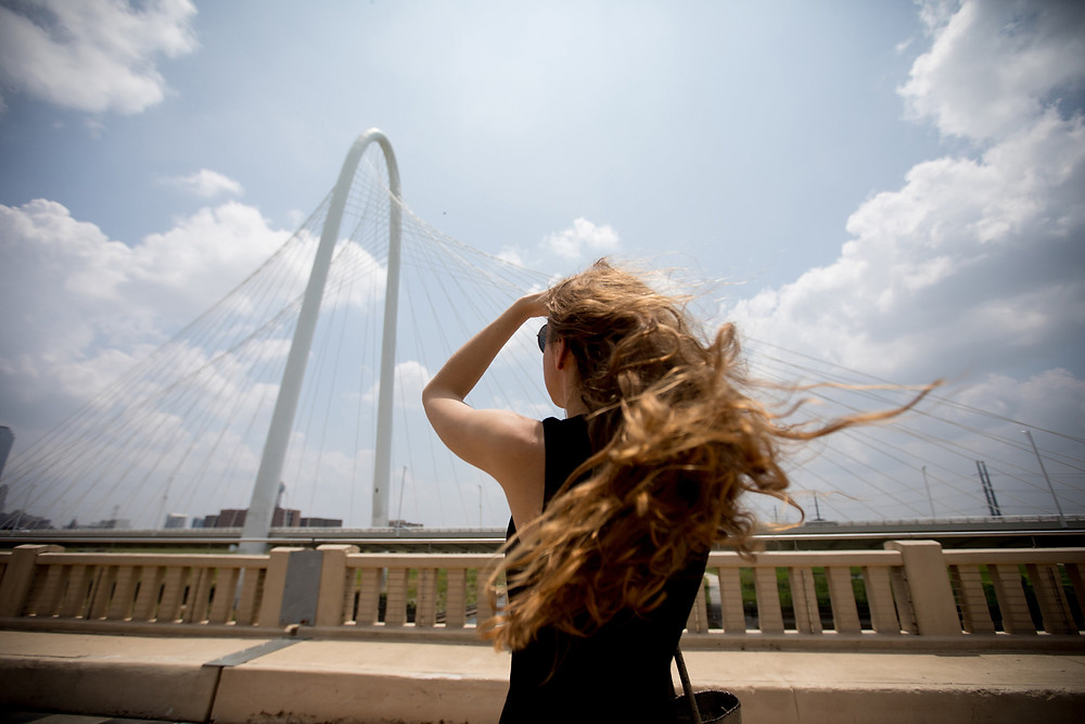 Iris van Herpen in Dallas, at the Santiago Calatrava-designed bridge, the signature landmark of the city's Trinity River Corridor Project. Credit Allison V. Smith